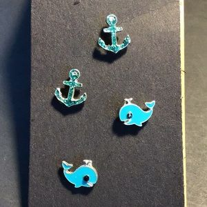 🐳 Whale and Anchor Earring Set ✨